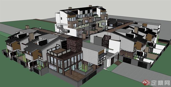 新中式联排别墅建筑SU精致设计模型