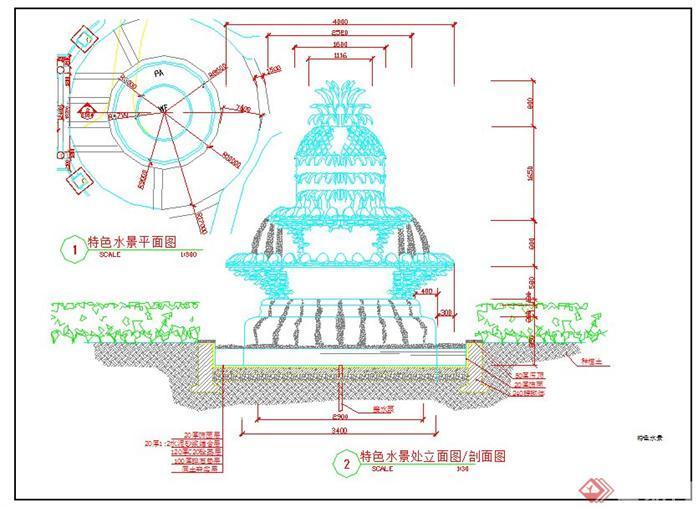 喷泉立面图手绘图