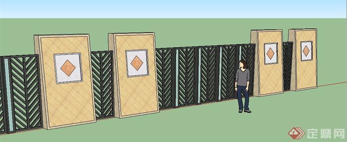 现代欧式围墙su模型[原创]
