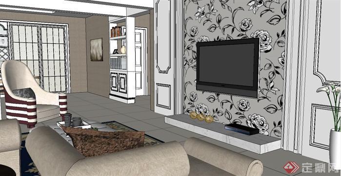 一套欧式户型完整室内装潢方案su精致设计模型[原创]图片