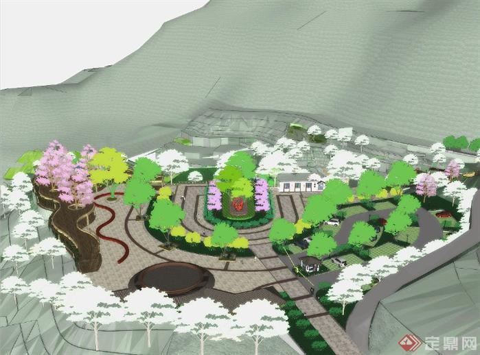 长方形水景公园手绘平面图