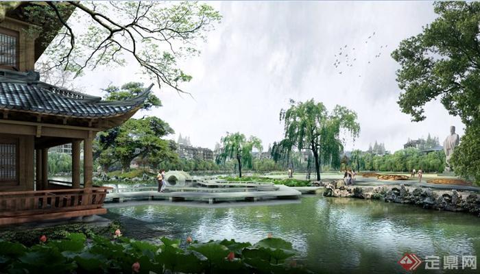 某公园广场雕塑古建节点psd效果图[原创]