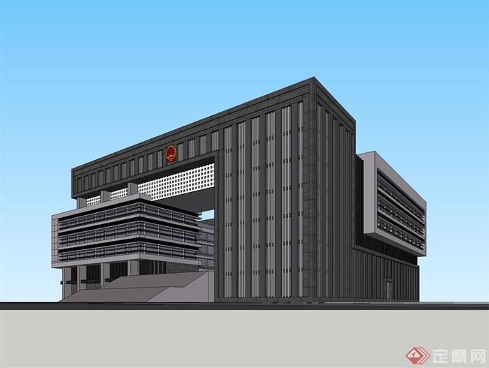 行政办公楼政府机关办公楼su模型建筑设计草图大师模型