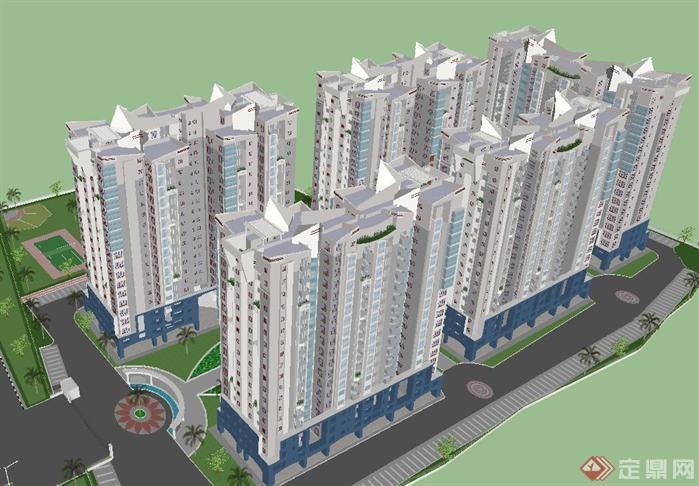 城市廉租房建筑项目su精致设计模型[原创]
