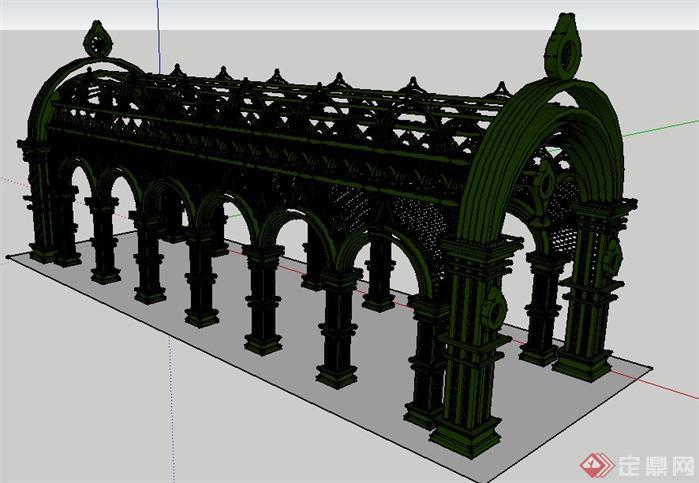 欧式铁艺廊架景观设计su模型