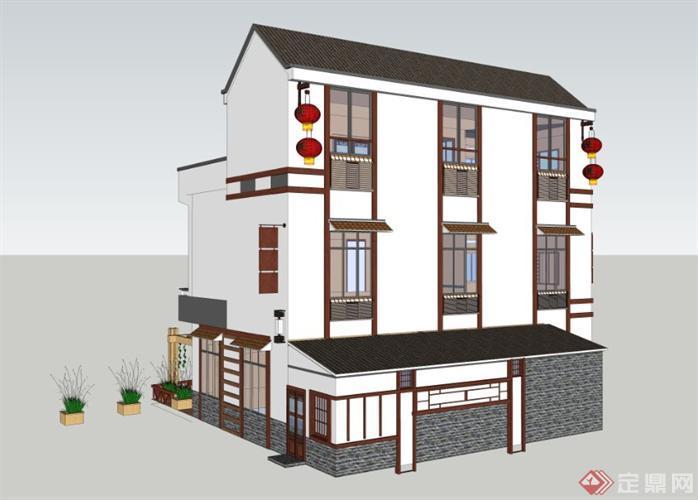 仿古农民房 农家乐共两栋楼建筑设计su模型1