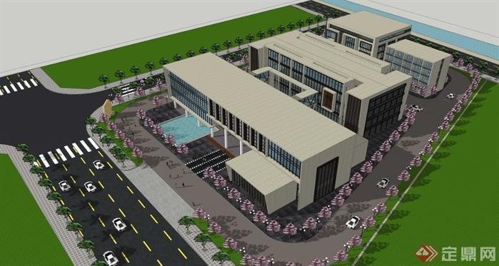 厂房办公楼建筑设计效果图及su模型