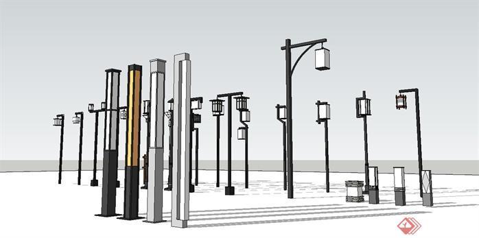 新中式街灯组件集su精品设计模型[原创]