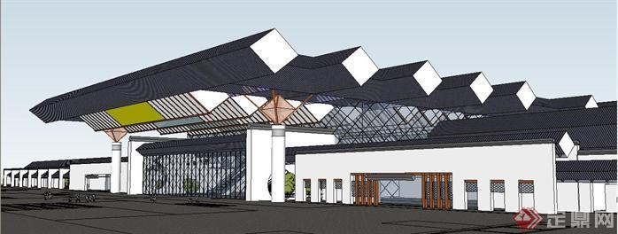 新中式风格火车客运站建筑su精致设计模型[原创]