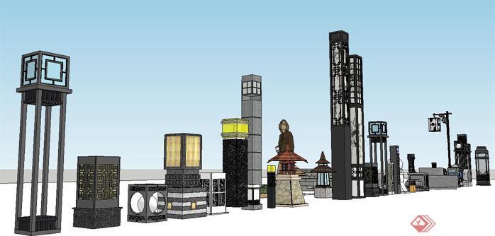 新中式园林景观灯组件集su精品设计模型图片