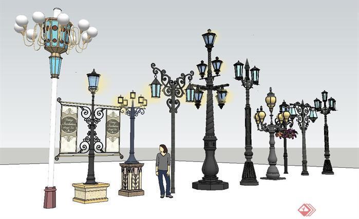 欧式商业街装饰景观灯组件集su精品设计模型[原创]