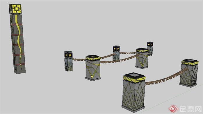 中国风护栏式景观灯su精品设计模型[原创]