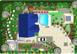 景观绿化设计别墅庭院景观ps平面排版 完整一套图片
