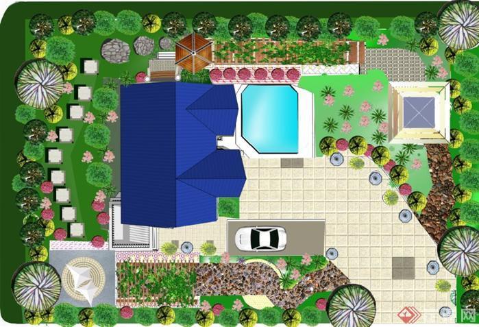 景观绿化设计别墅庭院景观ps平面排版 完整一套[原创]