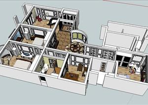 某样板房室内设计sketchup模型