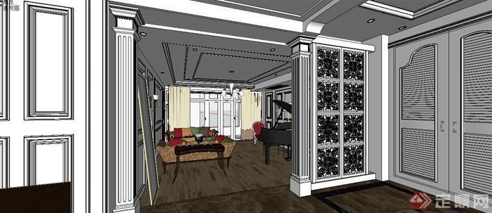 某样板房室内设计sketchup模型,该室内方案设计很具有创意,模型制作非常详细,可以在同类项目中做参考或适当修改后使用。