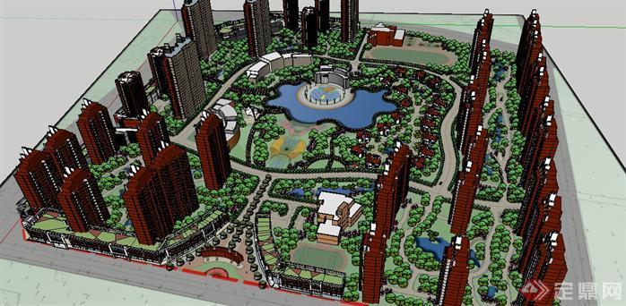 36个居住小区整体建筑景观道路规划设计SketchUp模型