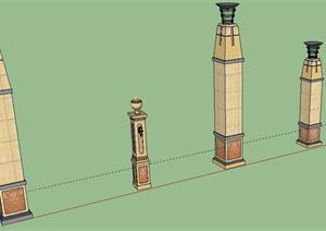 欧式灯柱su模型图片