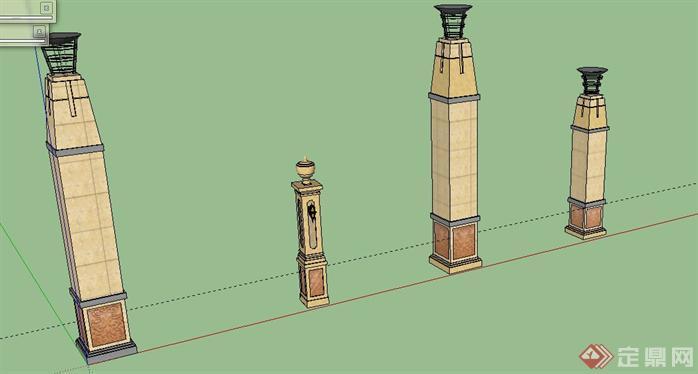 欧式灯柱su模型[原创]图片