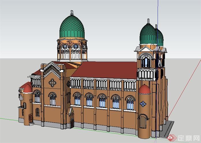 滨江道教堂建筑设计方案su模型