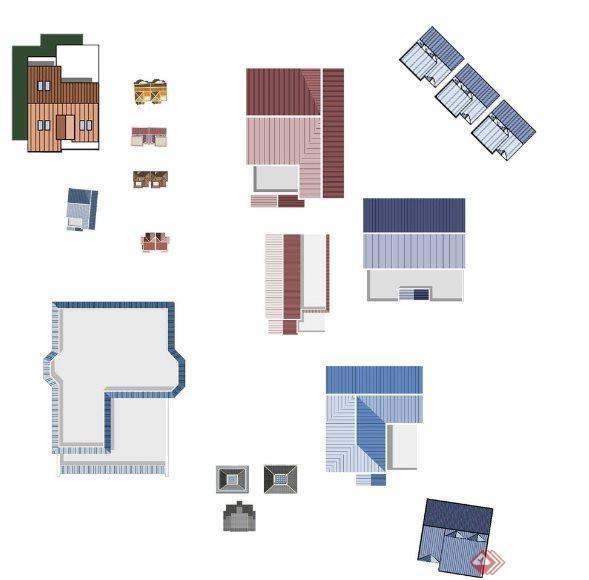 建筑屋顶彩平图例,仅供参考的设计素材.