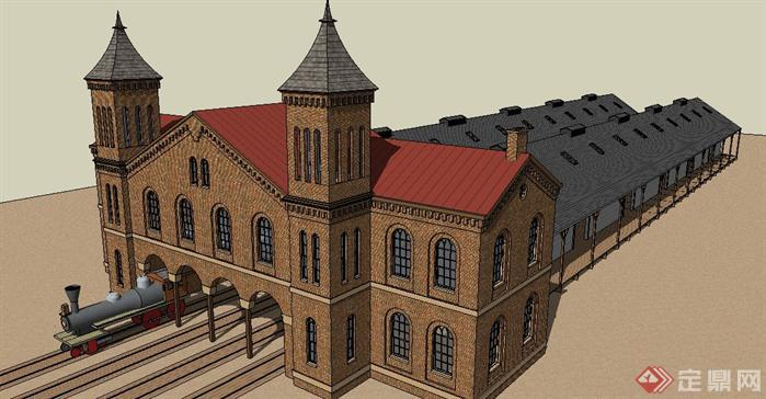 某欧式火车站建筑设计方案su模型