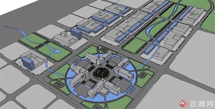 某影视信息传媒中心建筑设计su模型