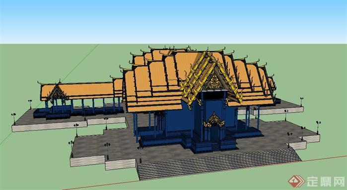 亭子(东南亚)园林景观设计方案su模型