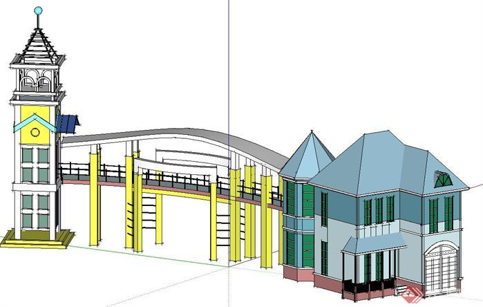 某住宅区欧式入口大门模型