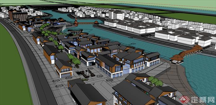 精品中式商业街建筑规划设计su模型