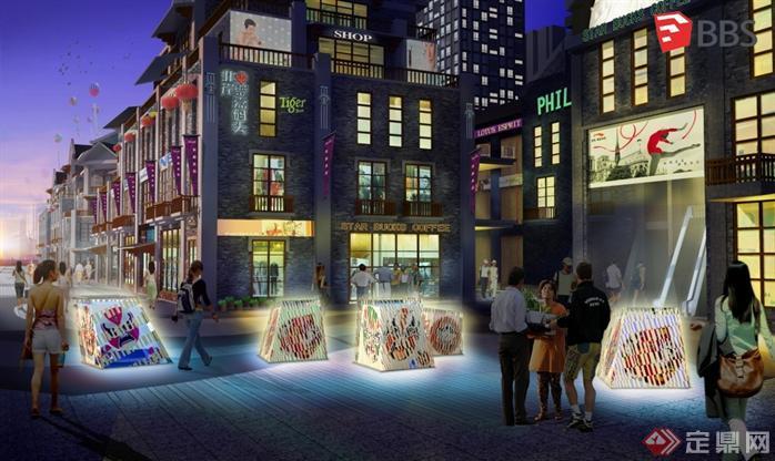 现代中式商业街建筑设计方案SU模型1