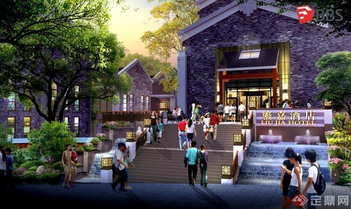 现代中式商业街建筑设计方案SU模型3