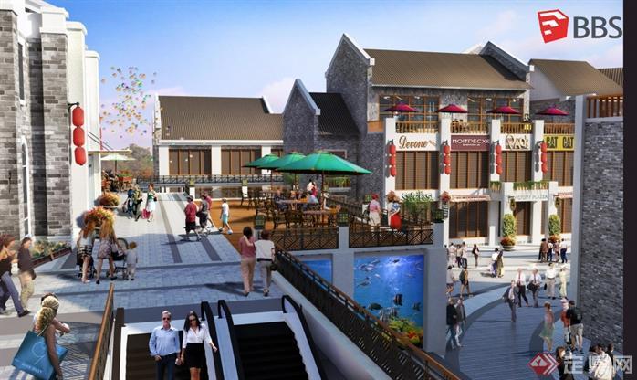 现代中式商业街建筑设计方案SU模型4