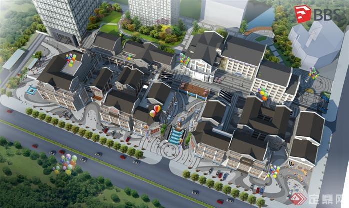 现代中式商业街建筑设计方案SU模型5