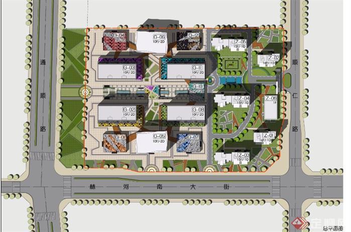 商业和居住建筑设计方案su总体模型 两张效果图1