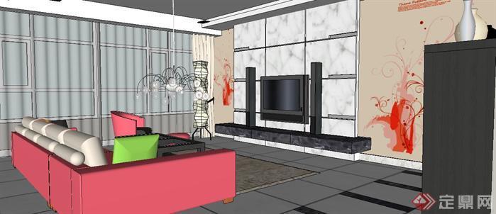 某北歐風格家裝室內設計sketchup模型[原創]