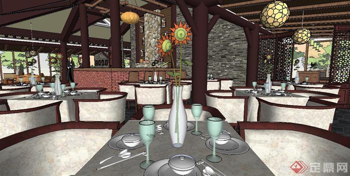 新中式豪華餐廳裝潢方案su精致設計模型[原創]