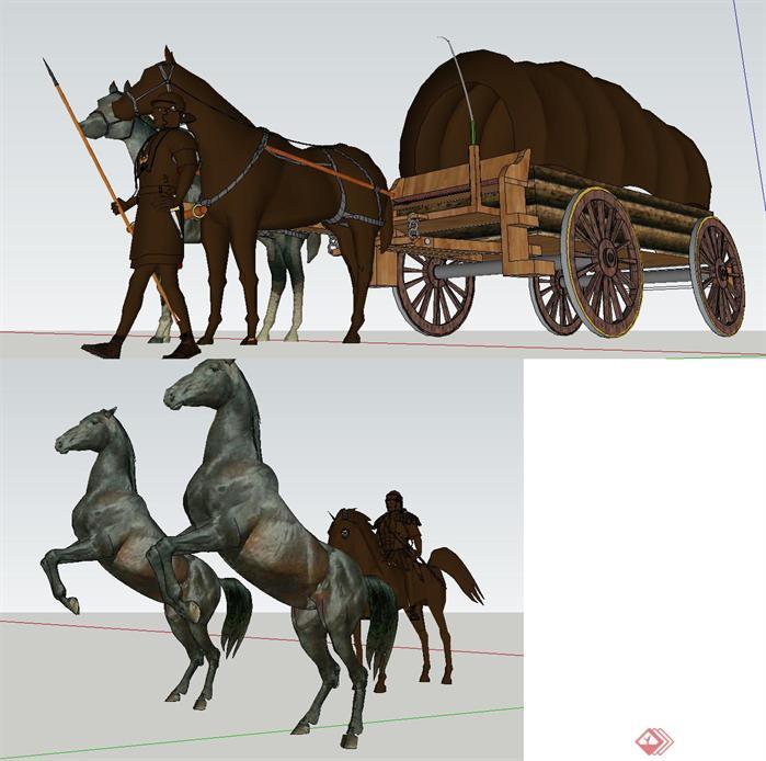 两个车马景观雕塑方案su精致设计模型[原创]