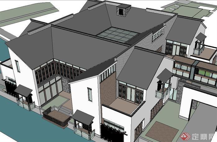 新中式艺术家中心建筑su精致设计模型[原创]