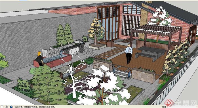 新中式屋顶花园方案su精致设计模型[原创]
