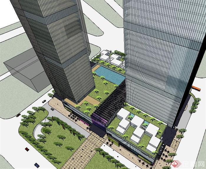 城市地标性商业建筑方案su精致设计模型[原创]