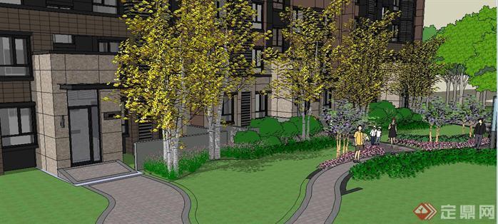 小区入户花园景观方案su精致设计模型[原创]