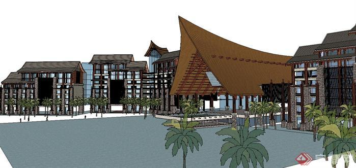 东南亚风格度假酒店建筑方案su精致设计模型,该建筑方案设