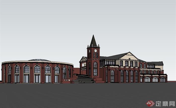 欧式食堂建筑设计方案su模型