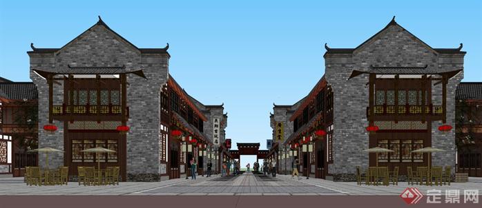 某商业古街建筑规划设计方案su模型1