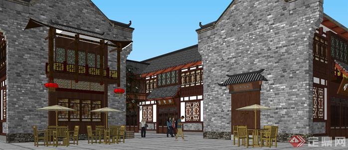 某商业古街建筑规划设计方案su模型3