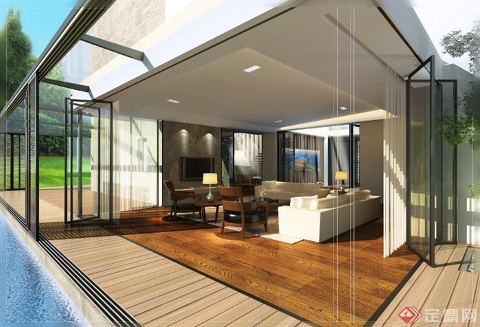 别墅室内设计方案全套CAD施工图(含效果图)1
