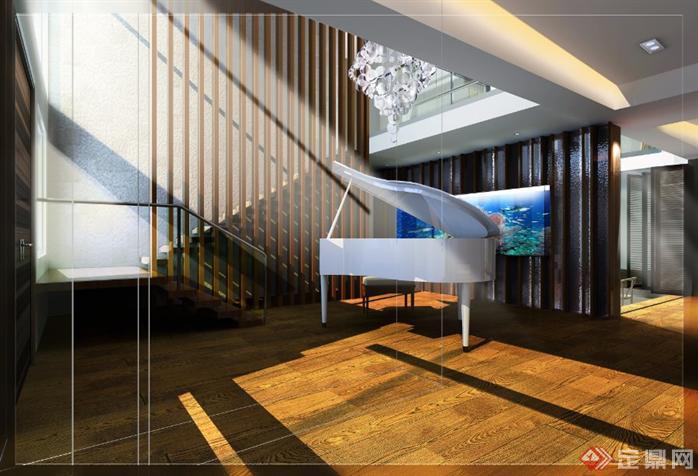 别墅室内设计方案全套CAD施工图(含效果图)2
