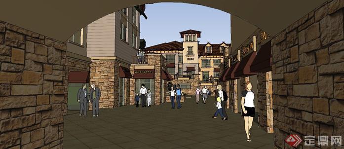 四川某住宅商业街欧式西班牙风格建筑设计方案su模型1图片