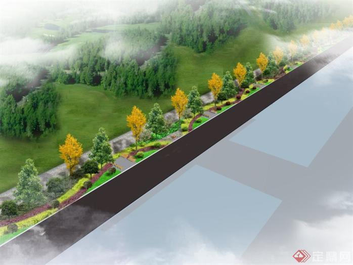 某小区绿化景观设计效果图,效果图质量一般,但是施工效果应